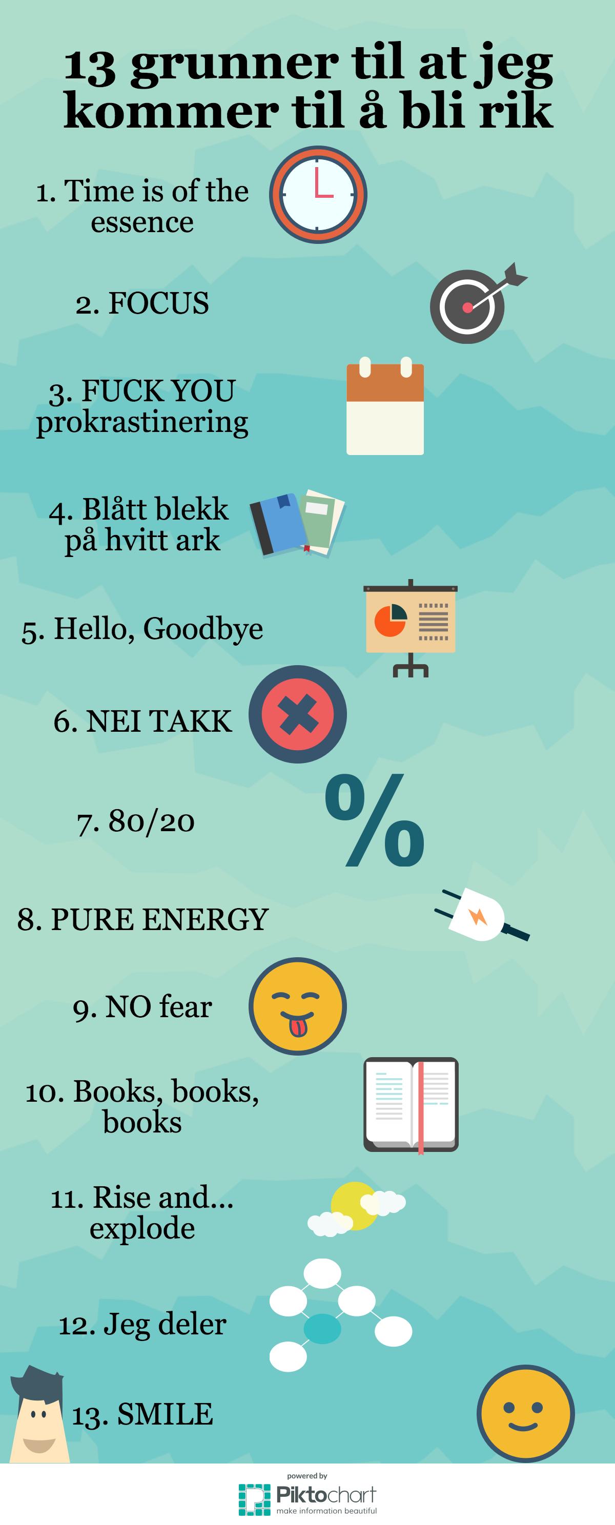 13 grunner til at jeg kommer til å bli rik